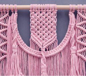 hilo de macrame rosa tapiz